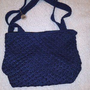The Sak Nave Blue Crocheted Bucket Bag Purse